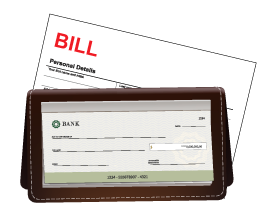 Bill and checkbook icon