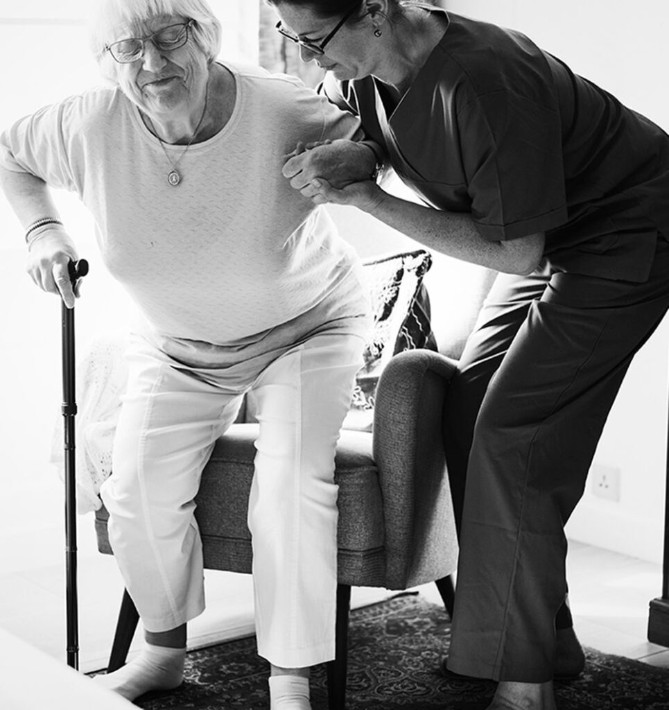 Home Health helping patient