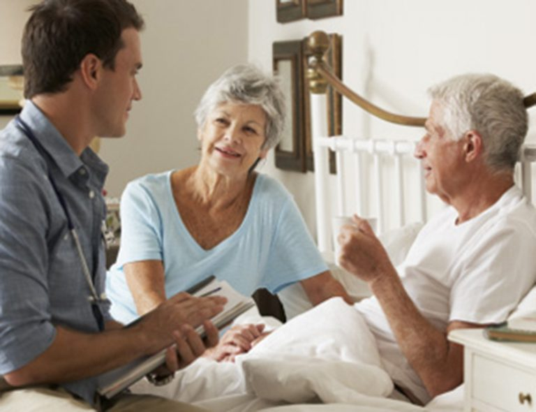 Skilled Nursing Facility with MD visiting patient and family