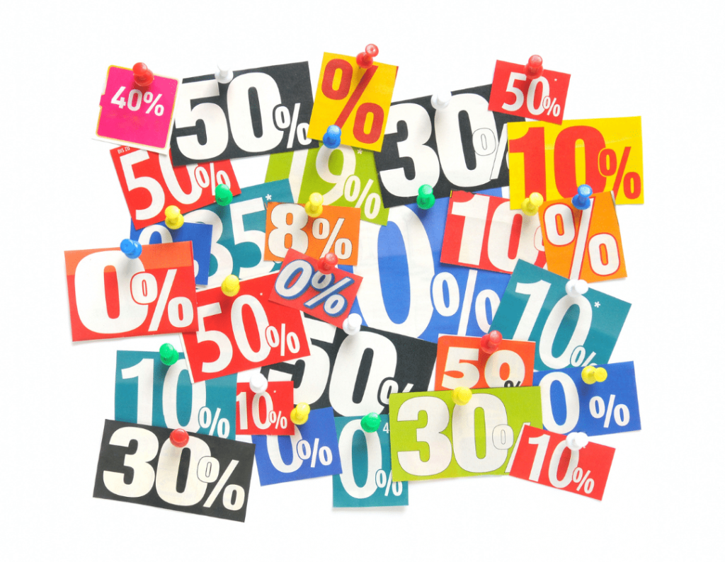Various discount signs of percentage off