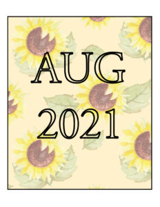 August Newsletter Cover Art with Sunflowers on light yellow background2021 - Advocates For Seniors